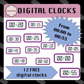 CLIPARTS: 12 free digital clocks from 00:00 to 00:55