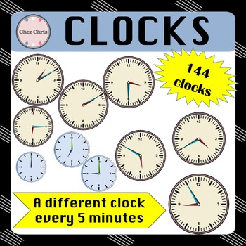 CLIPART: 144 different clocks