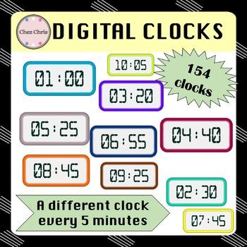 CLIPARTS: 154 digital clocks
