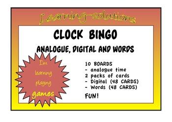 CLOCK BINGO - Hour, Half Hour, Quarter To, Quarter Past -
