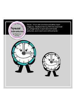 CLOCK CLIP ART FREEBIE FULL COLOR AND BLACK AND WHITE IMAGES