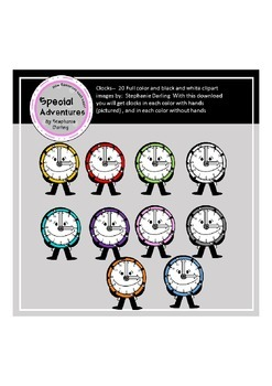CLOCK CLIPART FULL COLOR AND BLACK AND WHITE IMAGES WITH A