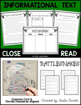 Close Read-Informational Text: Rattlesnakes