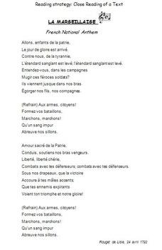 READING STRATEGY / CLOSE READING ACTIVITY: La Marseillaise