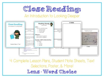 CLOSE READING Unit - Intro to Looking Deeper - Common Core