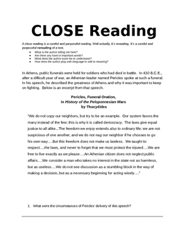 CLOSE Reading: Pericles Funeral Speech