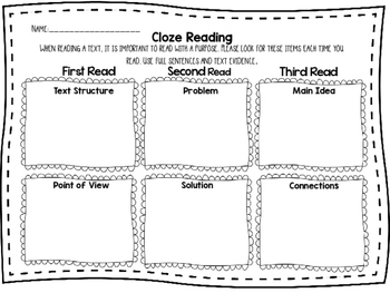 Cloze Reading Sheet