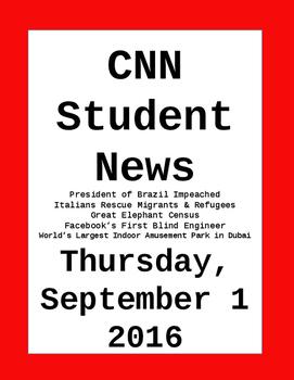 CNN Student News: Thursday, September 1, 2016 - NO PREP