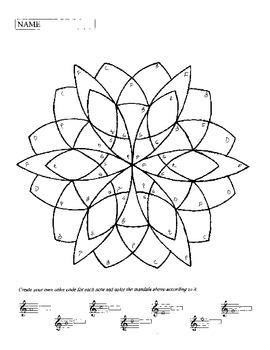 Color by Note Mandalas:  Treble Clef Notes