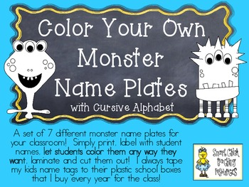 COLOR YOUR OWN Monster Nameplates w/ Cursive Alphabet ~ 7