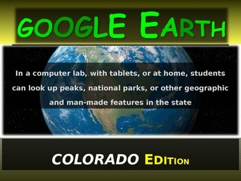 """""""COLORADO"""" GOOGLE EARTH Engaging Geography Assignment (PPT"""