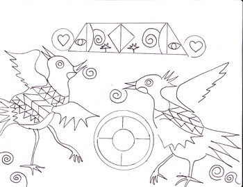 COLORING PAGE:GEOMETRY & BIRDS