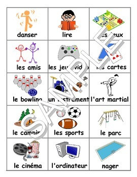 Hobbies / Passe-temps / Summer Activities FRENCH Workbook