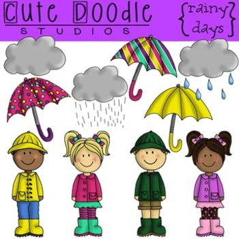 Rainy Days {Combo} Digital Clip Art & Black Line Stamps
