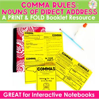 "COMMAS ""No Cut"" Interactive Notebook: Noun of Direct Addre"
