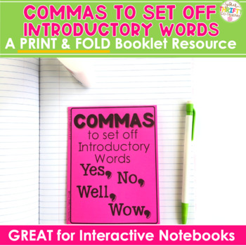 """COMMAS """"No Cut"""" Interactive Notebook: To Set Off Introduct"""