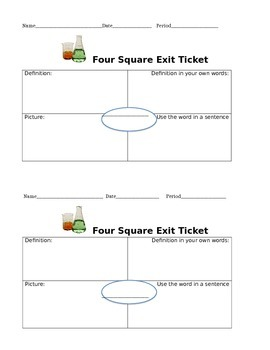 COMMON COR 4 Square Vocabulary ActivityE