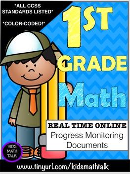 {COMMON CORE} 1st grade Math Progress Monitoring Documents