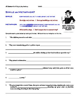 COMMON CORE ELA SIMILES METAPHORS WITH QUOTES FROM TEXT