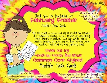 *COMMON CORE FEBRUARY FREEBIE Second Grade Task Cards