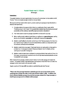 COMMON CORE FLUENCY/COMPREHENSION  PACKET 2ND-3RD GRADE