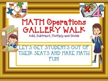COMMON CORE MATH Operations GALLERY WALK-Add, Subtract, Mu
