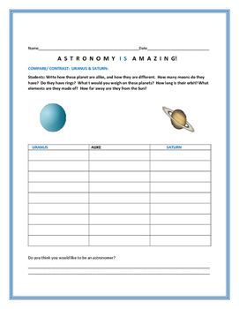 COMPARE/CONTRAST: TWO PLANETS: URANUS & SATURN/ AN ASTRONO