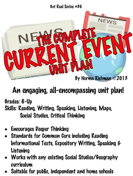 COMPLETE CURRENT EVENT UNIT; COMMON CORE READING, WRITING,