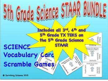 COMPLETE Texas 5th Grade Science STAAR Vocabulary Scramble