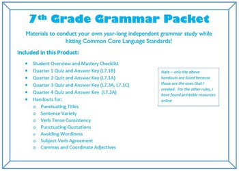 COMPLETE Unit for a year of 7th Grade Grammar - Common Cor