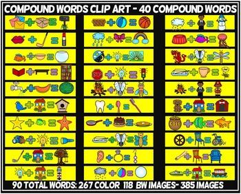 COMPOUND WORDS CLIP ART- 90 WORD images (40 compound words