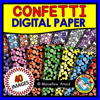 CONFETTI DIGITAL PAPER CLIPART PACK: CONFETTI BACKGROUNDS