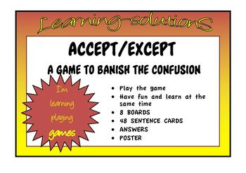 CONFUSED WORDS GAME accept-except