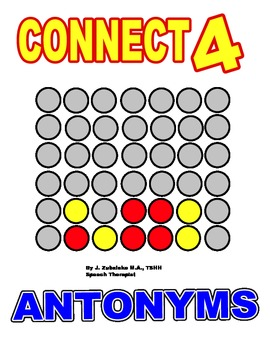 SPEECH THERAPY CONNECT FOUR for ANTONYMS