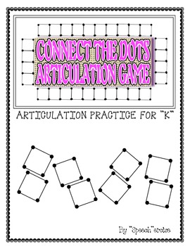 """SPEECH THERAPY CONNECT THE DOTS """"K"""" ARTICULATION GAME"""