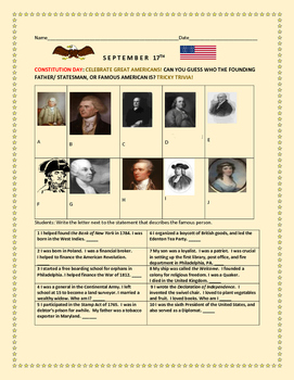 CONSTITUTION DAY CELEBRATION: GUESS THE FAMOUS AMERICAN!