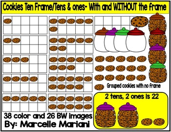 Place value clipart & ten frames- cookies clipart