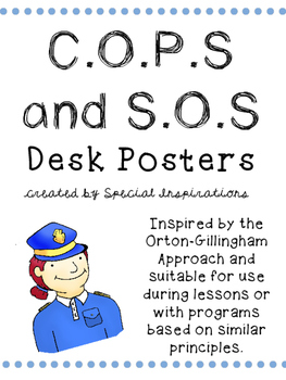 COPS and SOS Posters for Students' Desks Orton-Gillingham
