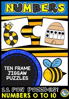 BEE THEME COUNTING PUZZLES: NUMBERS 0 TO 10