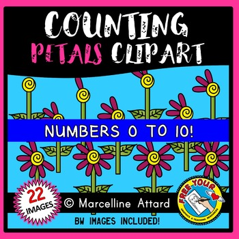 COUNTING CLIPART:  COUNTING FLOWER PETALS CLIPART: SPRING CLIPART