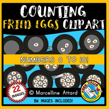 COUNTING CLIPART: COUNTING FRIED EGGS CLIPART: FOOD CLIPART