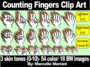 COUNTING FINGERS CLIP ART- COUNTING ON HANDS  72 IMAGES- C