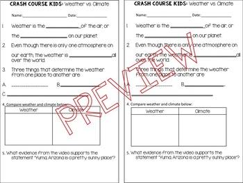 CRASH COURSE Kids! Weather vs. Climate Video Notes
