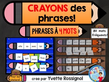 CRAYONS des phrases! (4 mots) mots usuels, French sight wo