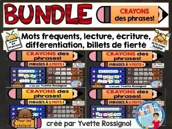 CRAYONS des phrases! (BUNDLE) mots usuels, French sight wo