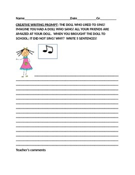 CREATIVE WRITING PROMPT GR. 2-4 THE SINGING DOLL