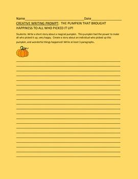 CREATIVE WRITING PROMPT: THE PUMPKIN,  GRADES 4-8