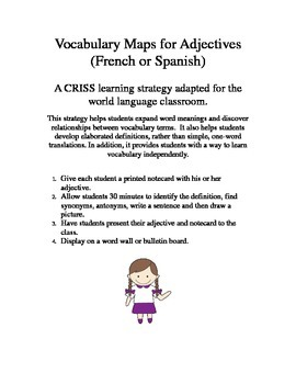 CRISS Adjective Cards/Activity for French or Spanish