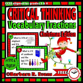 CRITICAL THINKING: Christmas Vocabulary Fractions