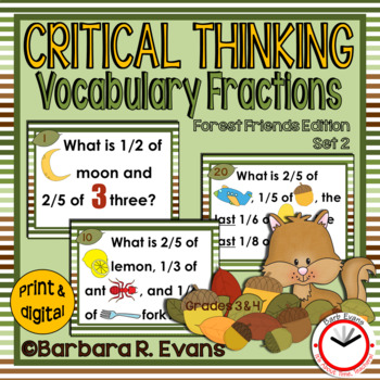 CRITICAL THINKING: Forest Friends Vocabulary Fractions set 2